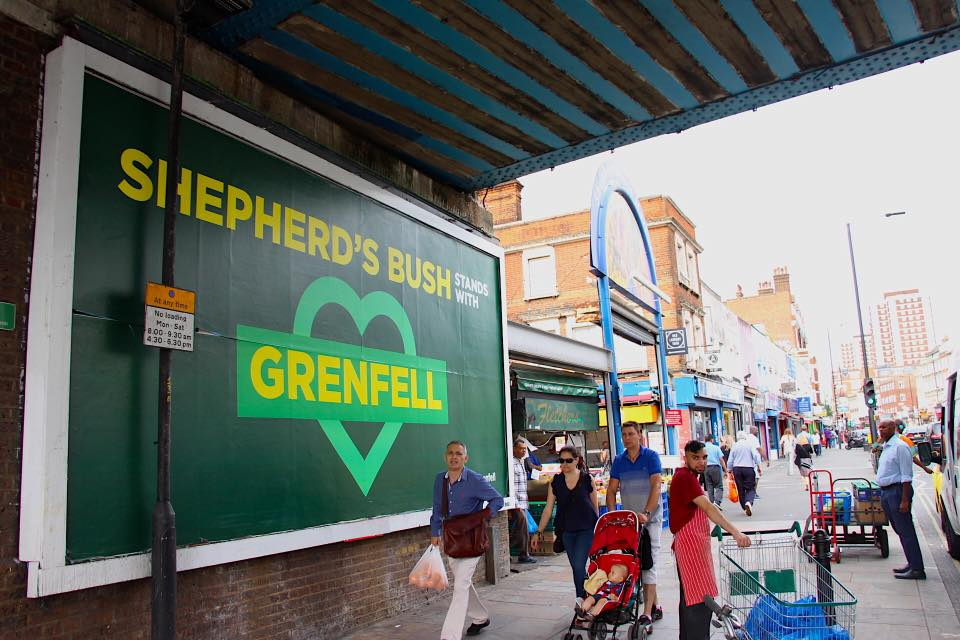 Grenfell Shepherds Bush poster by Greg Bunbury
